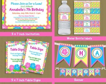 Tiki Party printable invite & decorations set - brown Hair hula girl luau party theme INSTANT DOWNLOAD #P-22 set-1 with editable text