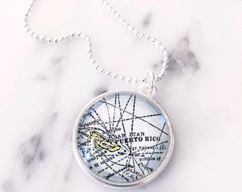 Puerto Rico Map Necklace - Puerto Rico Necklace - Puerto Rico Jewelry - Map Jewelry - Map Necklace - Travel Jewelry - Wanderlust Necklace