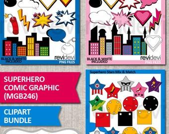Superhero Clipart / Superhero comic graphic clip art bundle / buildings, speech bubbles, stars / commercial use graphics, instant download