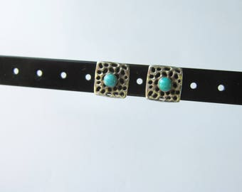 Southwestern Style Sterling Silver and Turquoise Square Stud Earrings - 1632