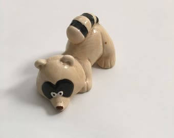 Vintage 80's Quon-Quon Ceramic Raccoon Figurine, Made in Japan