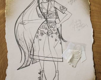 Original Fashion Illustration with Fabric Clippings, Created by Project Runway's Valerie Mayen, Runway Garment Sketch, Wall Art Print, Decor