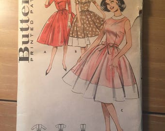 "Vintage 1960's Butterick #9307 Women's Dress Pattern Size 14, Bust 34"" - NC - 1960s Butterick / Full Skirt Dress / 60s Dress Pattern"