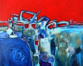 Abstract Painting, FREE Shipping,  Cityscape, Painting, Contemporary art, Acrylic Painting, Art, Painting, Abstract, Red, Blue, Home Decor
