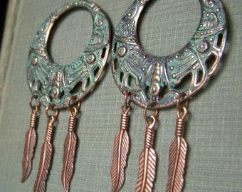 Boho Feather Earrings, Verdigris Patina Hoops, Long Copper Earrings, Hand Patina Hoop Earrings, Copper Feather Earrings, Bohemian Hoops