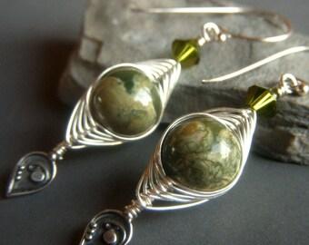 Rhyolite Earrings Sterling Silver, Olive Green Gemstone Earrings, Woven Earrings, Herringbone Wirewrapped Weave Dangle