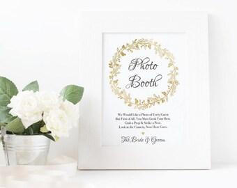 Printable Wedding Sign - Wedding Photo Booth - Photo Booth Sign - Printable photobooth Sign - Printable Wedding - Gold Foil