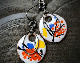 Enameled Charms, Enameled Earrings, Artisan Made, Asian, Oriental, Rustic, Organic, Beaded Earrings