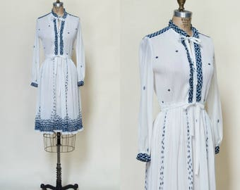 1970s Secretary Dress --- Vintage White Blue Dress