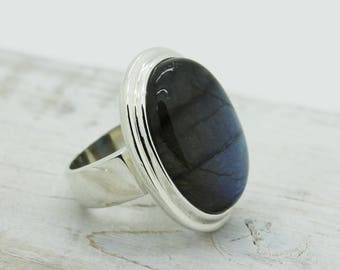 Huge Gorgeous Labradorite stone ring oval shape cab stunning blue flash all over natural stone solid sterling silver and labradorite jewelry