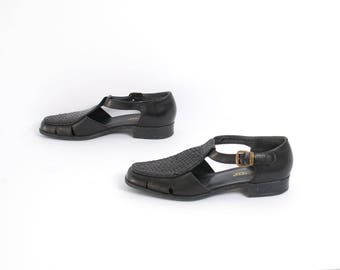 size 8.5 FISHERMAN black leather 80s 90s PLATFORM WOVEN buckle sandals