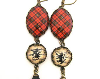 Scottish Tartan Jewelry - Brodie Clan Tartan Earrings with Lion Rampant and Onyx Black Crystal Bell Charms