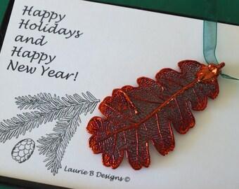 Leaf Ornament Copper, Real Leaf Lacey Oak, Leaf Extra Large, Ornament Gift, Christmas Card, Copper Leaf, Tree Ornament, Wedding, ORNA101