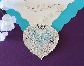 Silver Aspen Silver Leaf Necklace, Real Leaf Necklace, Aspen Leaf, Sterling Silver Leaf Necklace, LC107