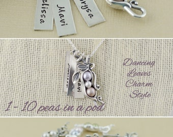 Bar necklace, vertical tags, 123456789, 10 peas in a pod, gift for mom, mother's day favorite, best friends gift, sisters gift, for grandma