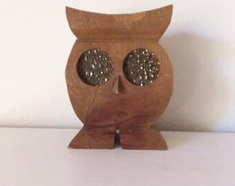 Mid Century Owl Votive Lantern Carved Wooden Vintage Candleholder with Glow Eyes Cute Retro Owl Rustic Mid Century Bird Vtg Outdoor Decor
