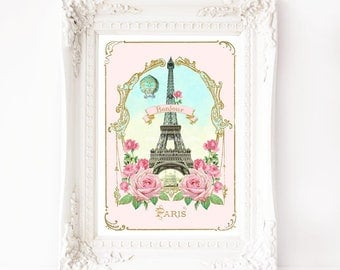 Eiffel Tower printable, Paris, France, French vintage, printable gift, Instant Download 8x10, A4, Personal use only