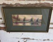 Vintage Watercolor Painting Fishing Lake - 1950s Denver Colorado