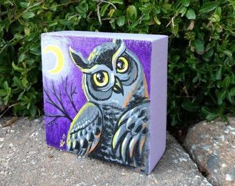 Halloween Decor/Great Horned Owl/Owl Art/Owl Painting/Art For Kids/Animal Art/Holiday Decor/Bird Art