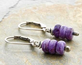 Purple Earrings - Charoite and Sterling Silver Earrings - Purple Short Drop Earrings - Lever Back - Purple Gemstone - Everyday Earrings 4901
