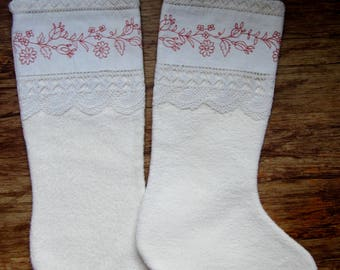 "18"" Christmas Stockings Fully Lined VINTAGE TEXTILES Upcycled Linens Crochet & Redwork Embroidery"