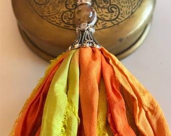 Sari Silk Tassel Necklace-Orange & Yellow Tassel-Boho Tassel Jewelry