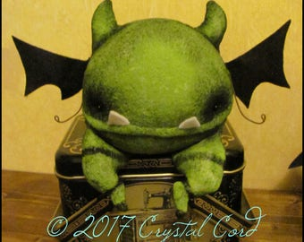 Whimsical Demon creepy cute doll Halloween horror gothic decor black green bat gargoyle cottage spooky Quirky Primitive