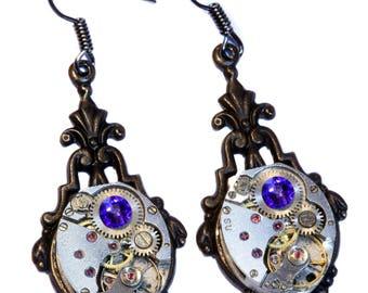 Steampunk Earrings - Heliotrope Swarovski Crystal