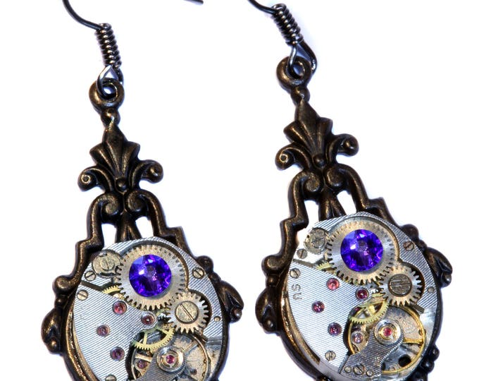 Steampunk Earrings - Heliotrope Swarovski Crystal
