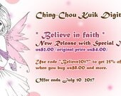 Half Price- Believe in Faith - Digital Stamp Instant Download /Breast Cancer Awareness Ribbon Girl Fairy Fantasy Art by Ching-Chou Kuik