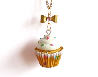 Rainbow Confetti Cupcake Necklace, Bakeshop Collection, Birthday Cake Necklace Kawaii Jewelry Pinup Necklace, Rockabilly Necklace