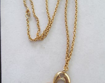 1970's gold script Heart pendant on Gold necklace chain