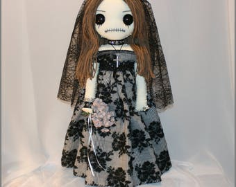 OOAK Hand Stitched Bride Rag Doll Creepy Gothic Folk Art by Jodi Cain Tattered Rags