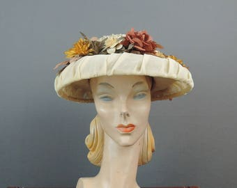 Vintage Hat Ivory Chiffon Wide Brim with Fall Colored Feathers, Eva May Modes