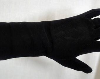 Vintage Kislav Suede Black Gloves - Size 6-1/2 - Made in France