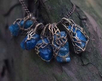 True Blue Amulet - Apatite Crystal and Filigree Pendant