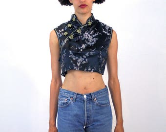 Ji-Yeong, 90s Asian Crop Top M, Black Asian Top, Black Silver Floral Chinese Top, Vintage Midriff Top, Asian Jacquard Cropped Top Cheongsam
