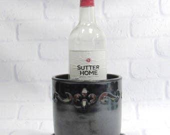 Ceramic Wine Chiller - Bottle Cooler - Blue Wine Chiller - Tabletop Wine Holder - Ice Bucket - Flower Vase - Countertop Utensil Holder