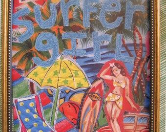 do you love me surfer girl  FRAMED PRINT from Original Fabric Collage - myBonny Random Scraps of Fabric
