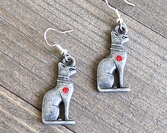 Egyptian Cat Earrings Bastet Silver Goddess Bastet Pewter Kitty Cat Jewelry Museum Quality Sterling Silver Ear Wires