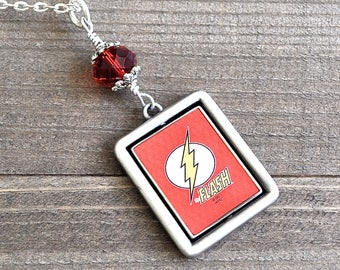 The Flash Necklace Vintage Comic Book Style Fidget Spinner Double Sided Spinning Charm Retro Silver Pendant