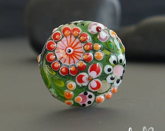 Handmade lampwork bead focal      Impressions   lentil-shaped     SRA     artisan glass    Silke Buechler