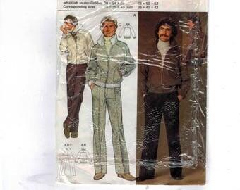 1980s Vintage Sewing Pattern Burda 9 4048 Mens Track Jacket and Pants 48 50 52 1980s 80s