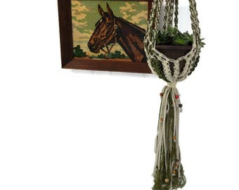 70's beaded macrame braided plant hanger