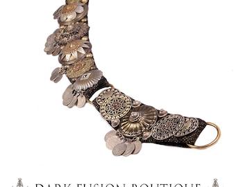 "Bellydance BELT, Large, 37""-40"" Inches, 94cm-102cm, Brass, Silver, Gold, Kuchi Coins, Fusion, Vintage,  Nouveau, Ritual, Tribal, Costume"