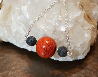 Orange Ceramic and Lava Aromatherapy Necklace