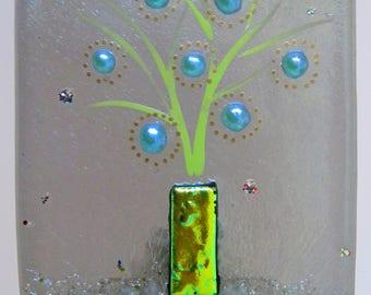 Handmade fused glass night light- Blossoming Series, nite lite, night light, local, maker, lighting, art, hand crafted, gift, san francisco