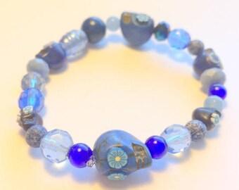 Blue Skull Bracelet Day of the Dead Sugar Skull Stretchy Bracelet