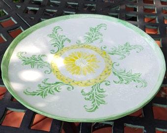 Handpainted  Ceramic  Serving Dish, Pedistal Serving Dish, Dessert Platter, Cake Stand