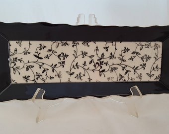 Black Floral Ceramic Tray, Ceramic Cheese and Cracker Tray, Long Serving Dish,